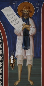 Преподобный Феофил Святогорский. Фреска часовни прпп. Арсения и Германа Святогорских